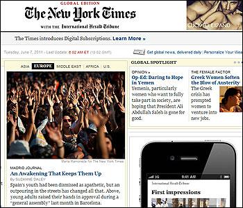 Portada del New York Times dedicada al 15M