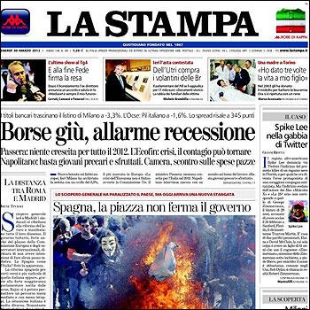 Portada de La Stampa