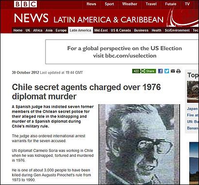 La noticia en la BBC