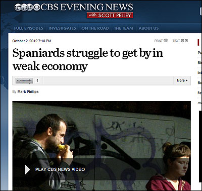Reportaje de la CBS sobre el hambre en España