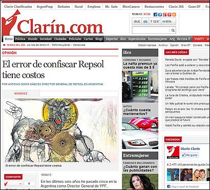 El artículo en Clarin