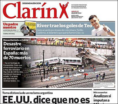 La portada de Clarin