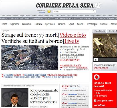 La portada de la web del Corriere con la noticia