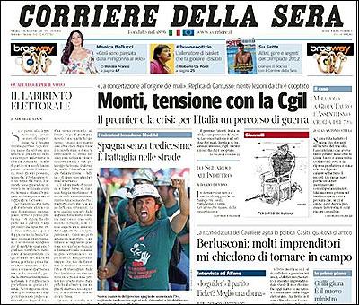 Portada del Corriere