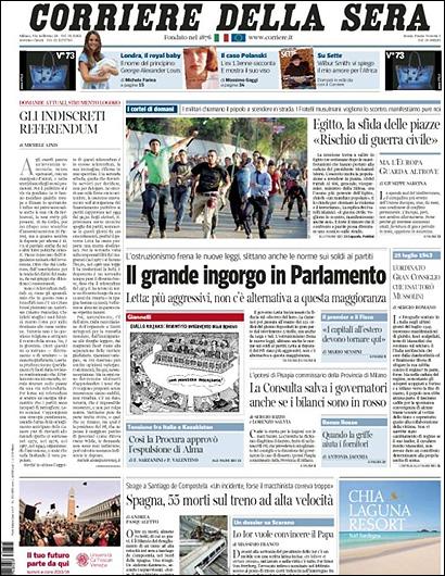 La portada del Corriere della Sera