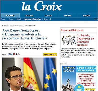 La entrevista a Soria en La Croix