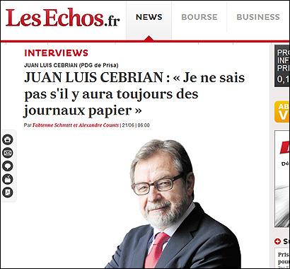 La entrevista a Cerbian en Les Echos