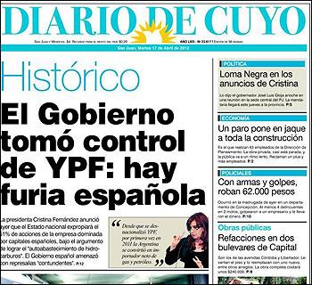 La portada de Diario Cuyo
