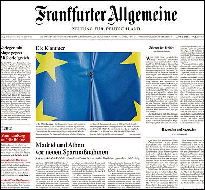 Portada del Frankfurter Allgemeine Zeitung