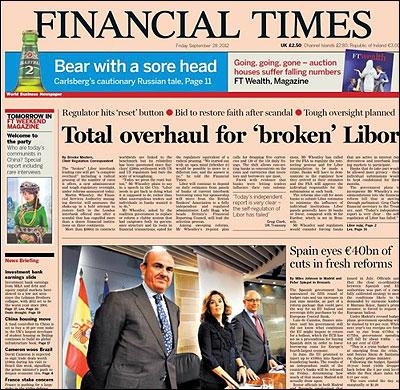 Portada del Financia Times sobre los presupuestos