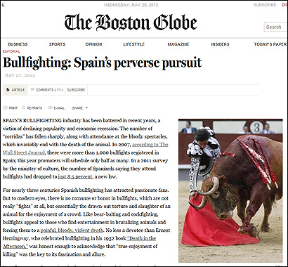 El editorial del Boston Globe sobre toros