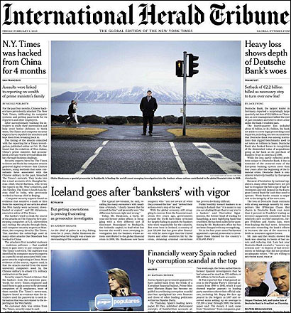 Portada del International Herald Tribune sobre el caso Barcenas