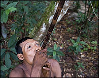Un indígena en la selva peruana