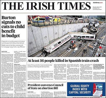 La portada del Irish Times