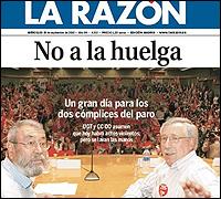 Portada de La Razon contra la huelga