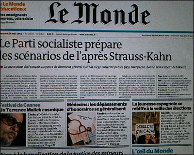 Portada de Le Monde sobre el 15M