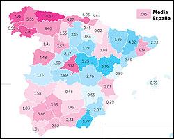 Mapa de poblacion de España por sexos