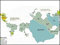 Asi sería el mapa del mundo en función de las reservas de petroleo