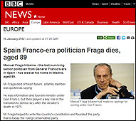 La muerte de Fraga en la BBC