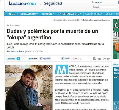 La noticia en La Nación