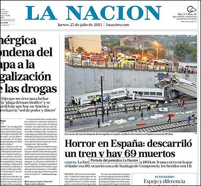 La portada de La Nación