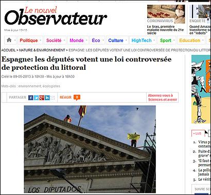Le Nouvel Observateur ha publicado la imagen de la protesta de Greenpeace