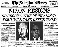 Portada del NY Times con la dimisión de Nixon