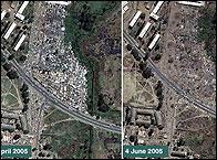 Imagenes del satélite de los barrios arrasados
