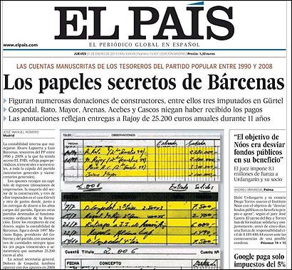 Portada de El País con los documentos de Bárcenas