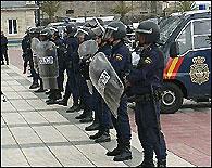 Una unidad de antidisturbios de la Policía Nacional