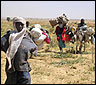 Un grupo de desplazados llegando a Chad