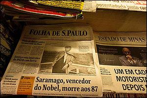 Saramago en portadas de Brasil