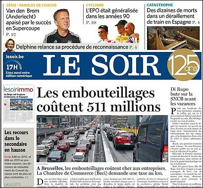 La portada de Le Soir