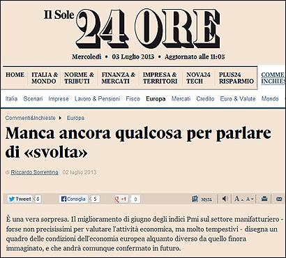 El artículo de Il Sole 24 Ore