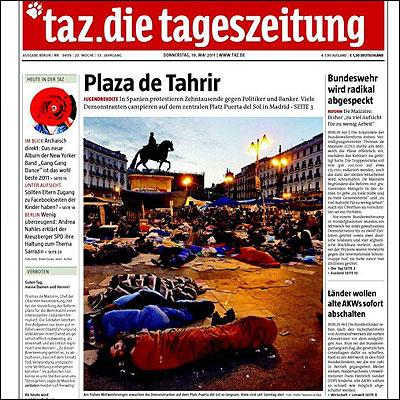 Portada del Tageszeitung sobre el 15M
