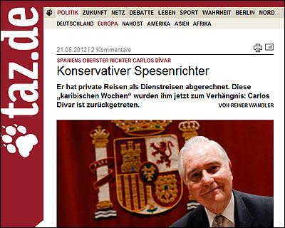 La dimision de Divar en Die Tageszeitung