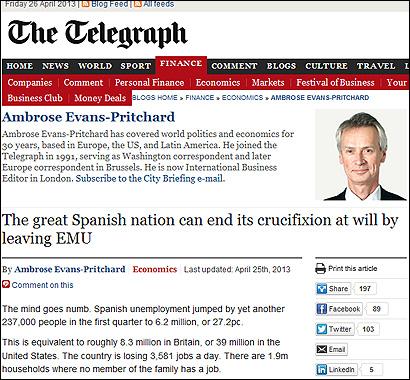 El articulo de Evans-Pritchard en el Telegraph