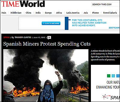 Las protestas de los mineros en Time