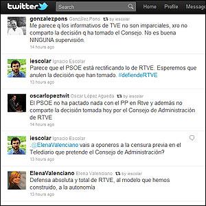 Algunos de los mensajes en Twitter