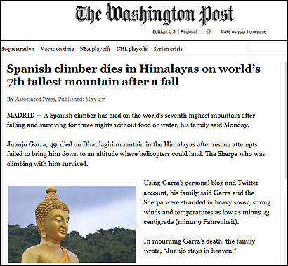 La muerte de Garra en el Washington Post