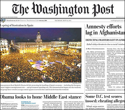 Portada del Washington Post sobre el 15 M