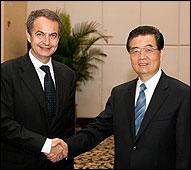 Zapatero y el presidente chino Hu Jintao