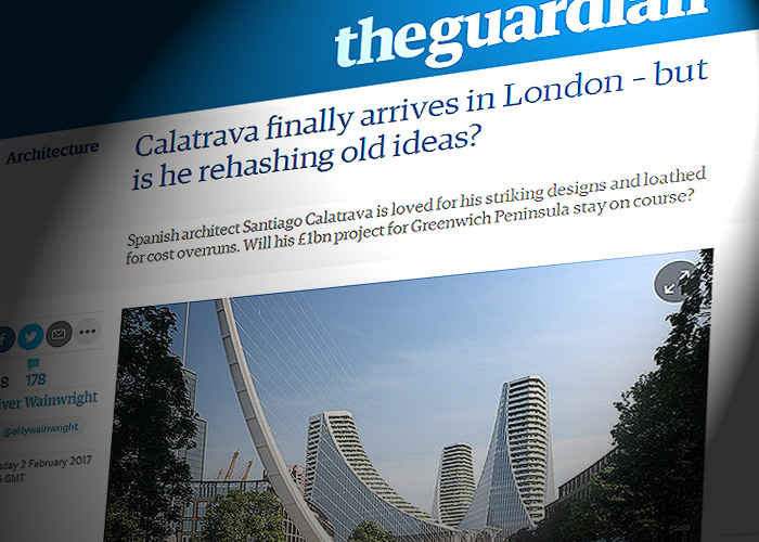 the guardian destaca que calatrava finalmente llega a londres pero plantea ucest reciclando viejas ideasud apunta que el arquitecto espaol es querido