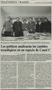 22-1-99 texto de EL PAIS sobre el programa de televisión en el que participaba RadioCable.com dentro de CanalC en Canal Satélite Digital